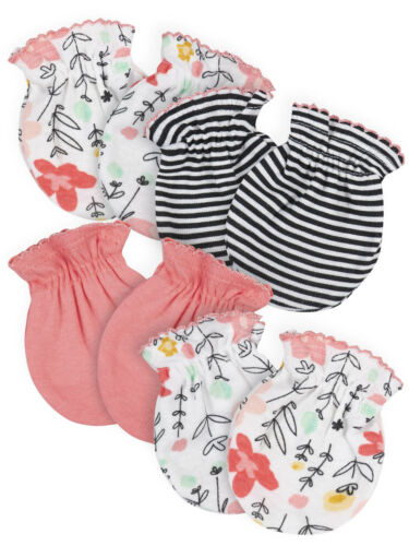 Gerber Baby Girls 4 Pack Organic Cotton Mittens Size 0-3 Months Garden Floral