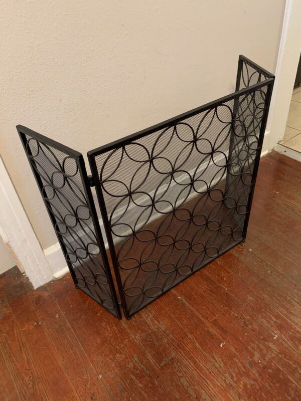 Sturdy Fireplace Screen 3 Panel Foldable Heavy Duty Metal Large Panel Safety