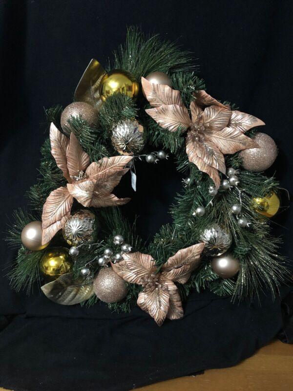 "Pier 1 Imports 19"" Christmas Wreath W/ Blush Poinsettia Gold Balls NWT"