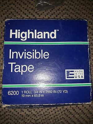 Highland 6200 Invisible Permanent Mending Tape 1 X 2592 3 Core 1 Roll New