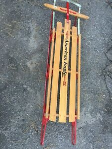 "Bobsled , sleight, wooden original ""American Eagle"","