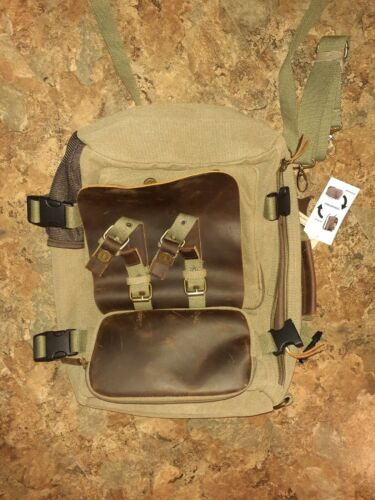 Vintage canvas and leather backpack