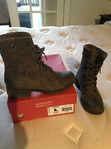 Grey, Leather Rockport by Cobb Hill Boots 8.5