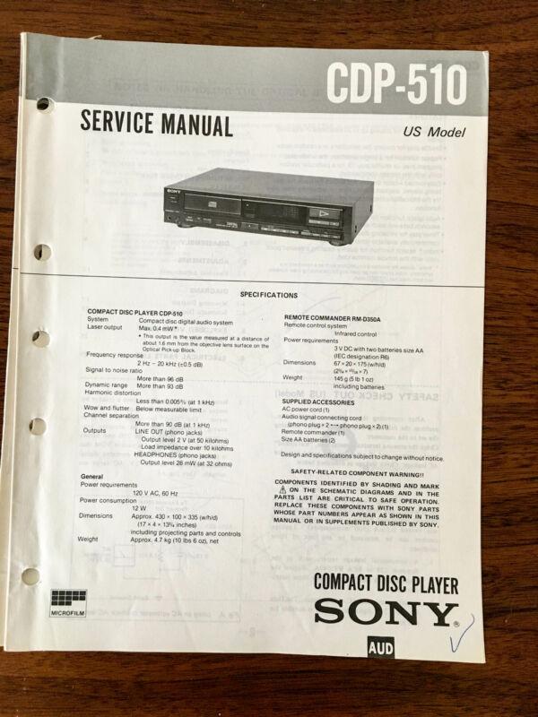 Sony CDP-510  Service Manual *Original*