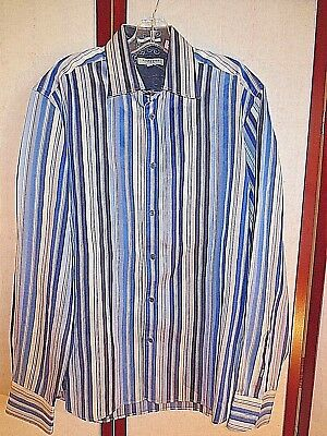 Ted Baker London Long Sleeve Shirt  Blue Stripe Size 4 L LARGE*GREAT*