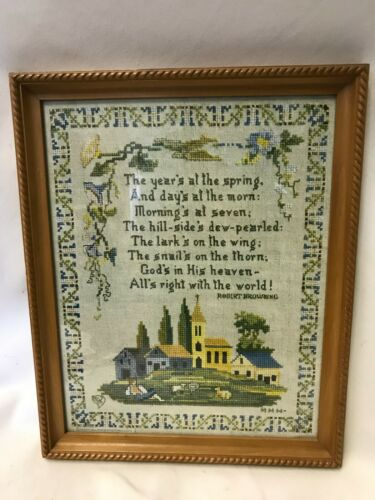 Vintage Counted Cross Stitch Completed Framed