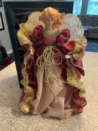 Home for the Holidays Angel Christmas Tree Topper 16 Inch Holiday Red and Gold