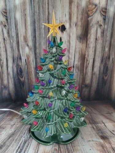 "Ceramic Christmas Tree Lighted 16""  Vintage Mold - Green - Green Base"