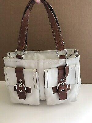 Coach White Brown SoHo Double Front Pocket Large Tote Satchel Bag Purse Shopper Large Front Pocket Satchel Handbag