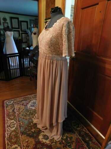 """LOVELY PLUS """"R&M RICHARDS"""" BLUSH  LACE AND CHIFFON FORMAL OR MOTHER GOWN SZ 16W"""