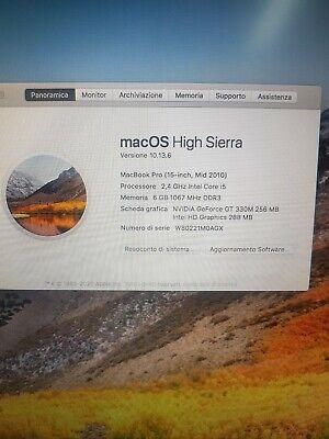 Macbook pro 15 2010 i5 6gb di ram ssd 240gb final cut pro e logic pro x e offic
