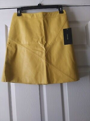 Zara Basic Collection Women's/Juniors Skirt Faux Leather Yellow A-Line Sz M NWT