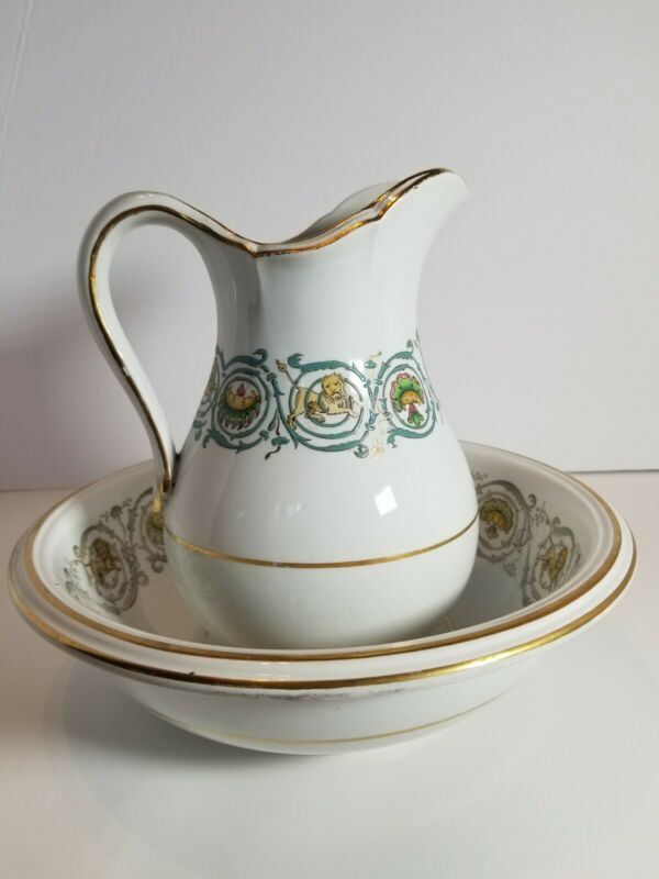 """Antique Rare Wedgwood Pearl Lion Wash Bowl And Pitcher 7 3/4"""""""