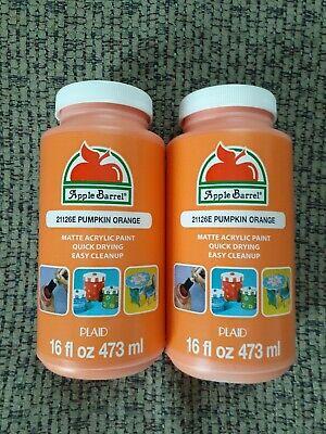 2x Lot Apple Barrel Acrylic MATTE Pumpkin Orange Crafting Paint 16 oz ea. NIB