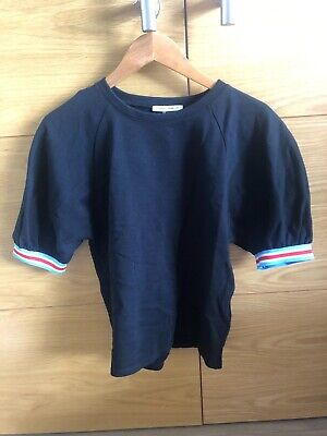 Women's, Zara, Black T-shirt with Coloured Sleeves, Sweatshirt Material Size S