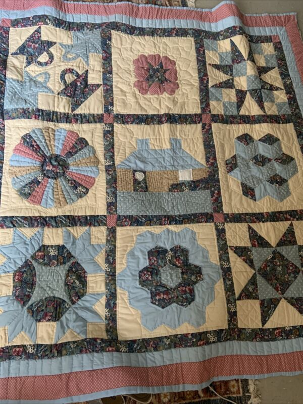 Vintage PATCHWORK QUILT Assorted Pattern Handmade Hand Crafted