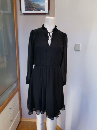 🌷 NEW LOOK Kleid Chiffon Gr. 34 XS  rollkragen v Ausschnitt schwarz overknee