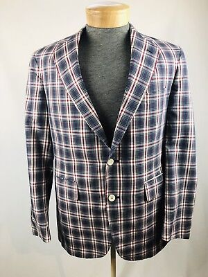Mens Custom Suit Jacket Blazer Vintage Dapper Madras Plaid 3 Deansgate XL