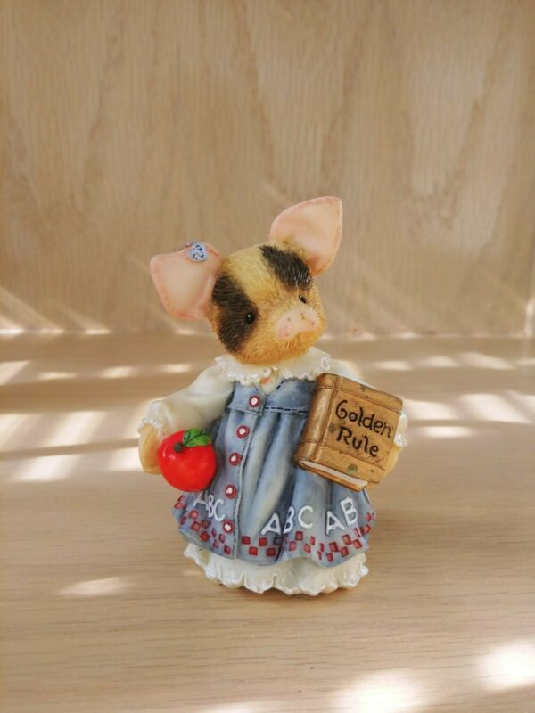 """This Little Piggy Figurine """"Learning Is Never A Boar With You"""" Enesco 1995"""