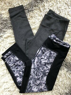 2 Pair Zella leggings Sz Small Black Cropped Gray Full Length