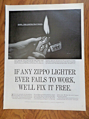 1965 ZIPPO Lighter Ad WAC Staff Sgt Gloria Ross V-2 Bombing London 1944