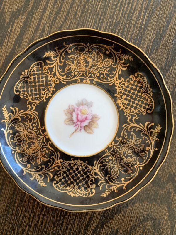 """Vintage Black Edge Pink Rose Gold Filegree Saucer Bone/porcelain Delicate 5 3/4"""""""