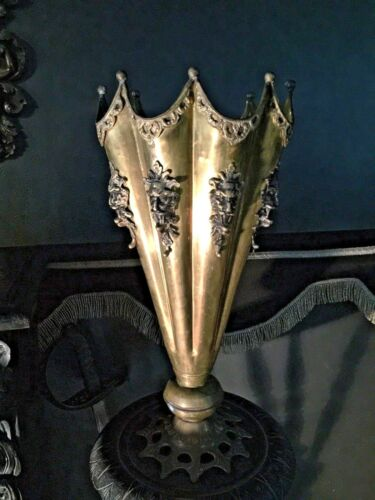 Wicked Coven Antique Gothic Devil Heads Umbrella Cane Stand with Ormolu Devils