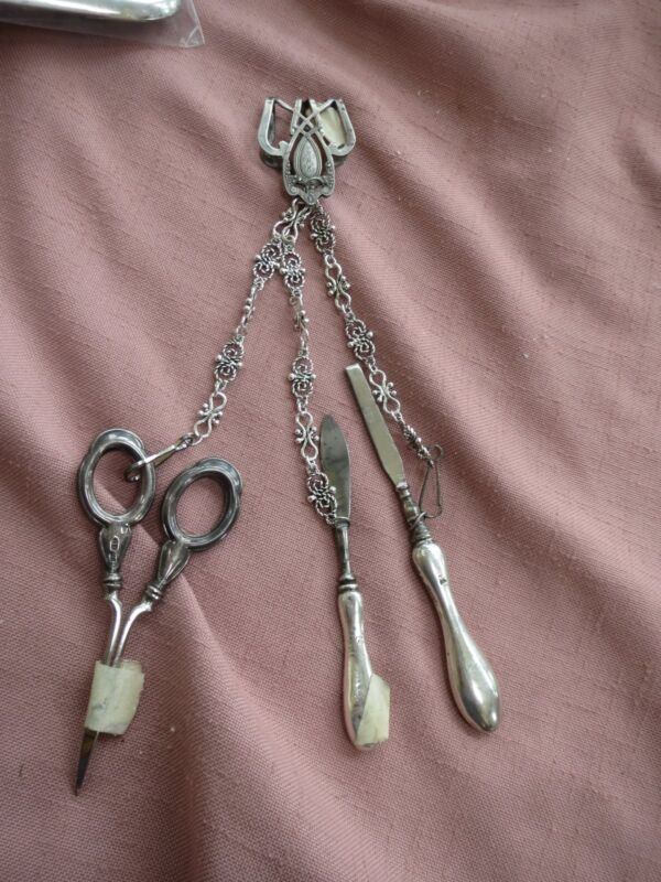 Antique Sterling Chatelaine- 3 Hallmarked Tools