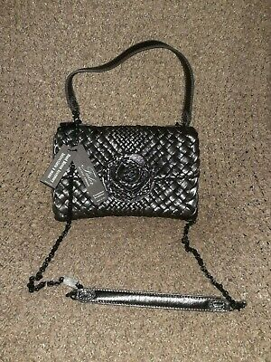 FALOR Falorni-F2101-Pewter WOVEN INTRECCIATO Leather w/Rosette-Chain Strap-NWT