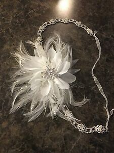 Wedding headpiece with feathers and Swarovski crystals