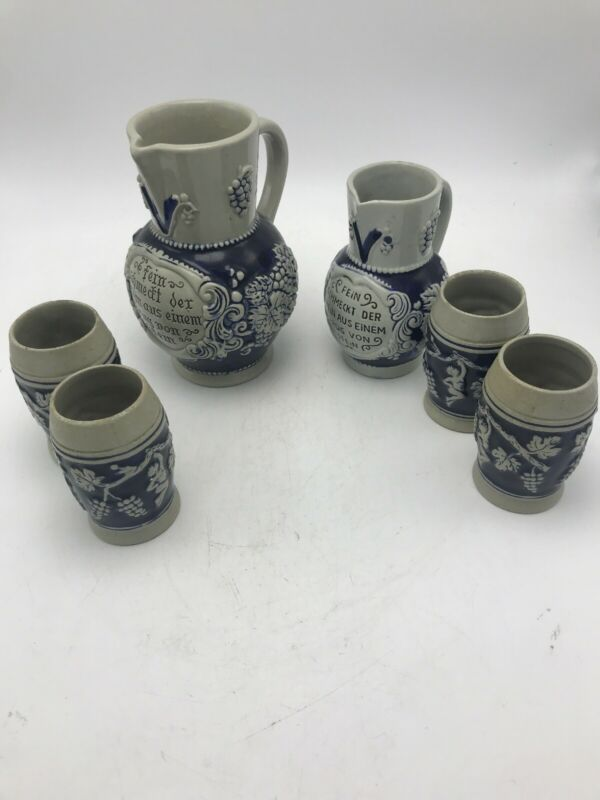 Vintage German 1/2 Pint Stein Pitcher with 4 Cups-Trinkt Goldenen Wein Set