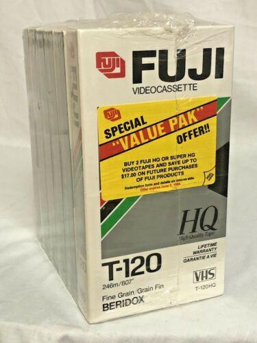 Fuji HQ T-120HQ  VHS Blank Tapes 6 Pack Fine Grain Beridox Hi Quality NIB Sealed
