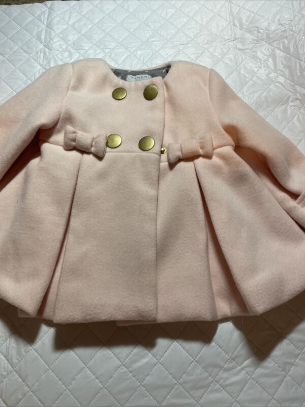 INFANT GIRL TAHARI LONG SLEEVE FRONT SNAP PINK BOWS LINED GOLD BUTTONS SIZE 3-6
