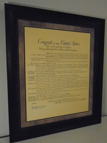LARGE FRAMED THE UNITED STATES OF AMERICA BILL OF RIGHTS PRINTED PARCHMENT PAPER