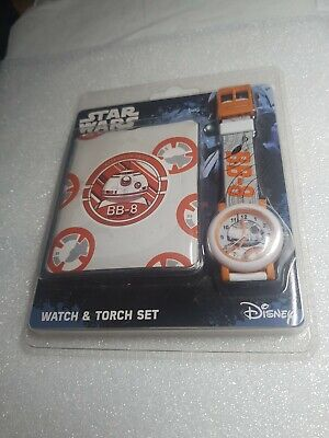 Officially Licensed Disney Star Wars BB-8 Quartz Watch and Torch Set