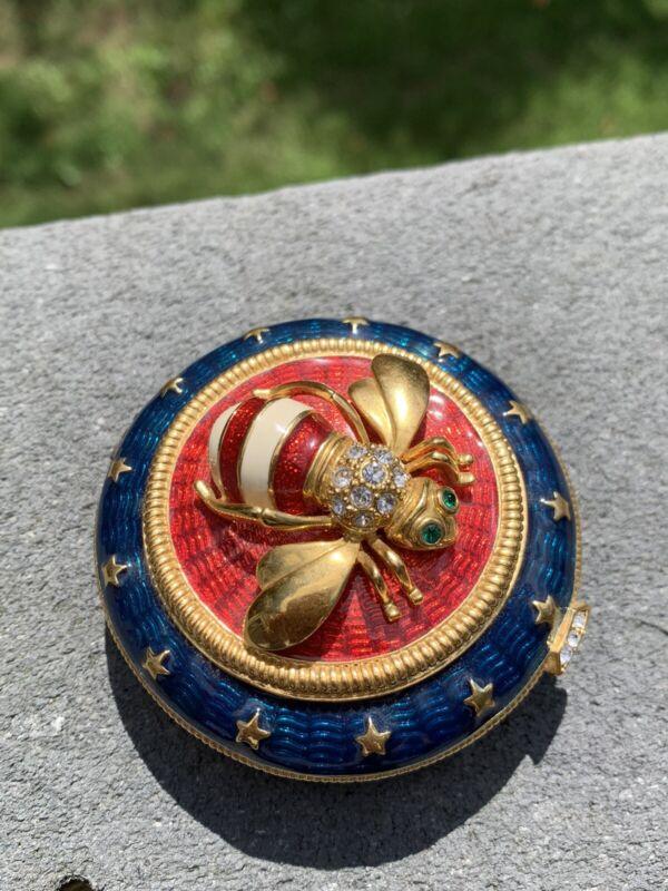 Joan Rivers Rhinestone Enamel Stars & Stripes Bee Magnetic Closure Trinket Box