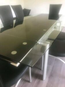 Dining table 6 chair glass