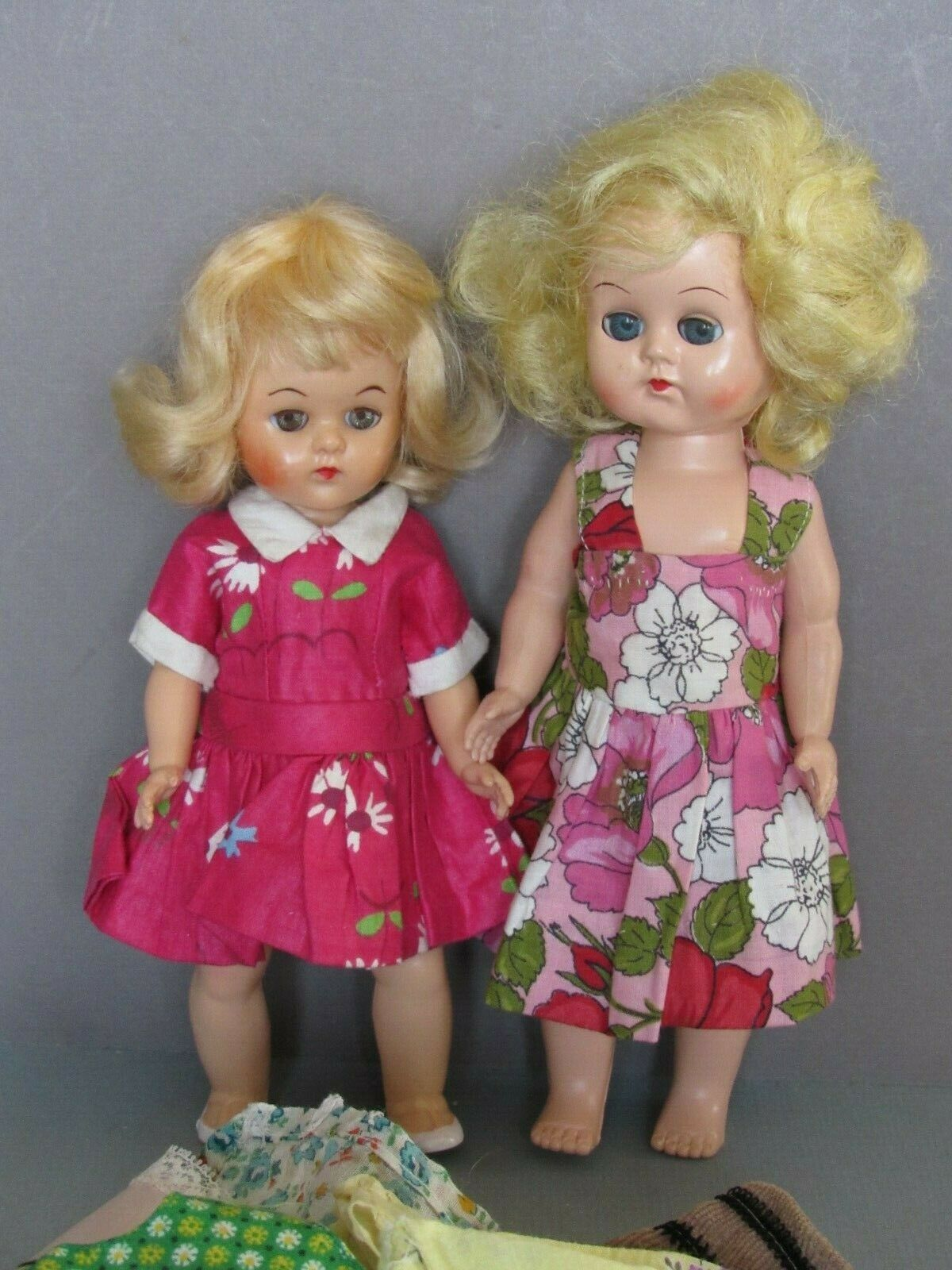 "Lot of 2 Vintage Ginny Clone Dolls Plastic 8"" and 9"" Walker w/ Clothes Unmarked"