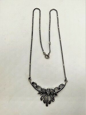 1930s Art Deco Style Jewelry Vintage Marcasite sterling silver lavaliere necklace 1930s-40s $73.50 AT vintagedancer.com