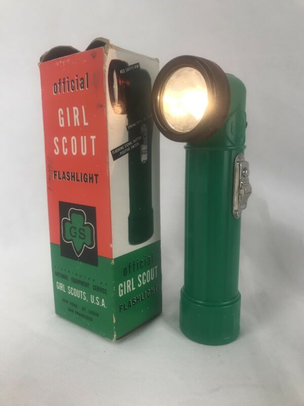 Official Girl Scout Flashlight Scouts USA 1960's in Original Box -Works