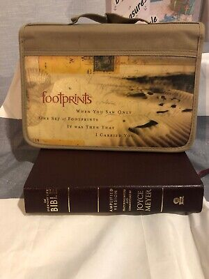 Footprints Canvas Large Bible Cover Zondervan NEW Everyday BIBLE Brand New L@@K