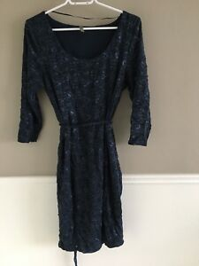 Dark blue stretch lace maternity dress