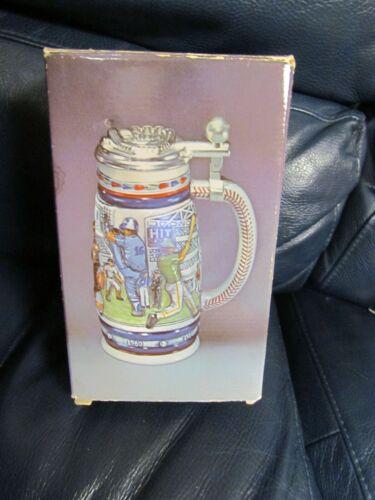 1984 AVON Great American Baseball Ceramic Lidded Beer Stein in box