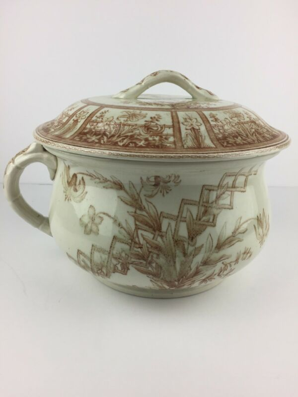 Antique G.W. Turner and Sons Tunstall Transferware Beatrice Chamber Pot