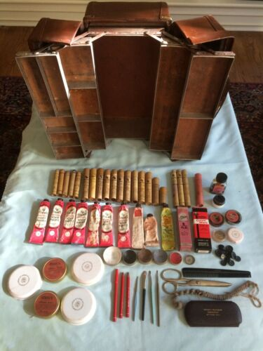 VINTAGE LEATHER FISHING TACKLE BOX USED AS THEATER MAKEUP CASE. W/CONTENTS!