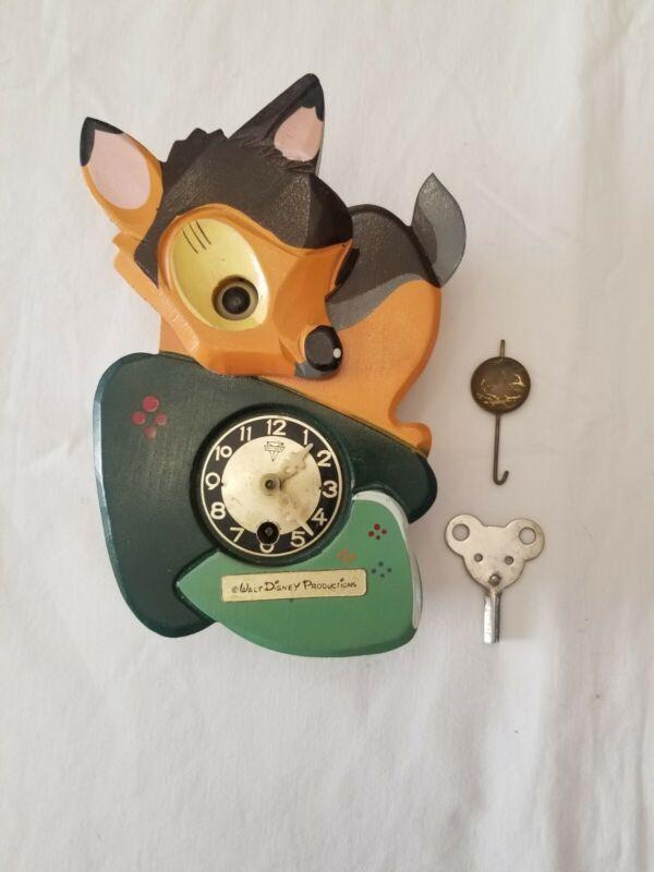 Walt Disney Productions Vintage Bambi Clock With Pendulum & Key RM027
