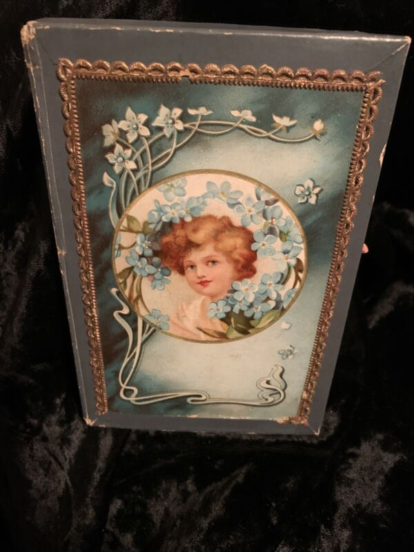 Victorian Antique Handkerchief Box With Portrait Of Beautiful Woman Lithograph