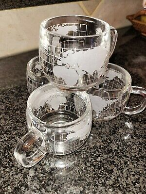 VINTAGE LOT OF 4 THE NESTLE CO INC WORLD GLOBE GLASS COCOA COFFEE TEA MUGS CUPS