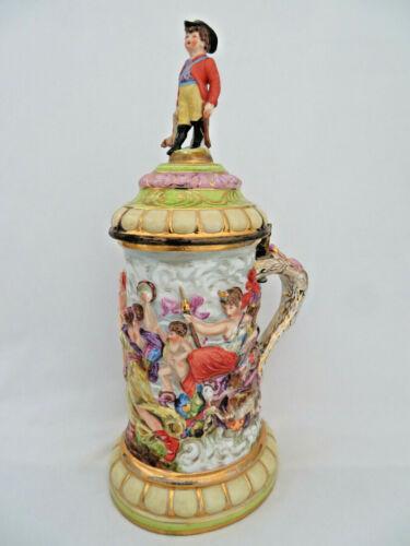 "Antique 1771-1834 Capodimonte Porcelain Lidded Tankard Stein ~ 12 1/2"" Tall"