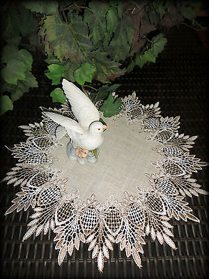 """16""""  Doily Table Topper Scarf  FEATHER LACE Neutral Earth Tone"""